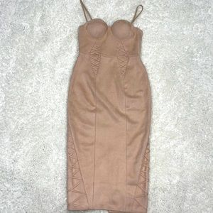 MISHA Suede Bustier Midi Dress Sz M